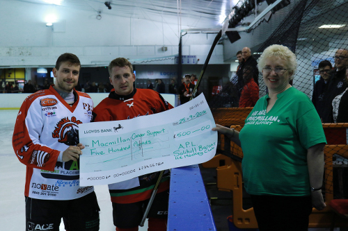 Before the game a cheque for £500 was presented to MacMillan Cancer care on behalf of the Barons (Steve Crampton)