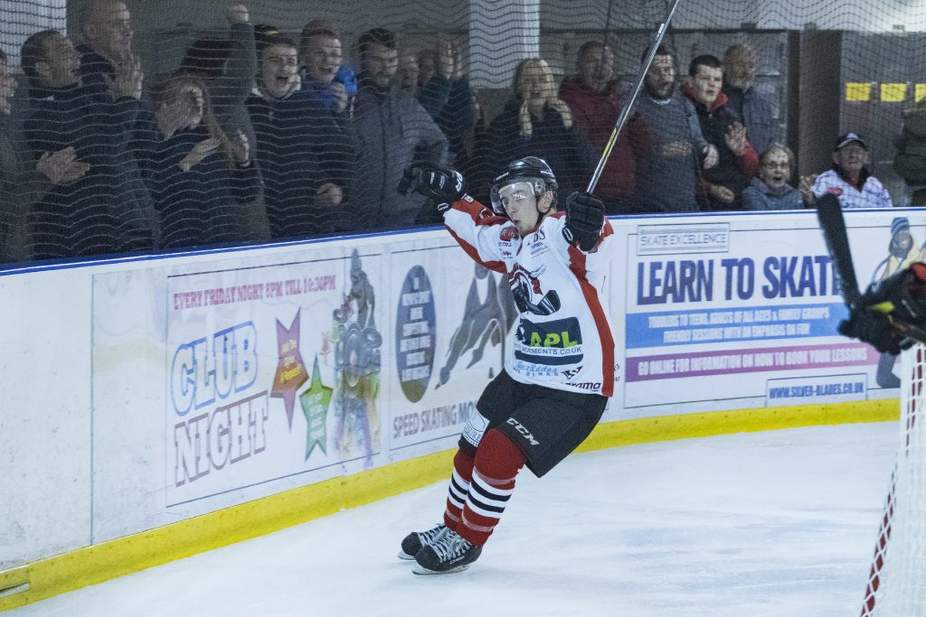 Rich Slater enjoys his goal which sealed things up for the Barons (Steve Crampton)