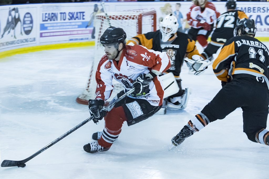 Josh Bruce was back on home ice after injury but would not see out the game (Steve Crampton)