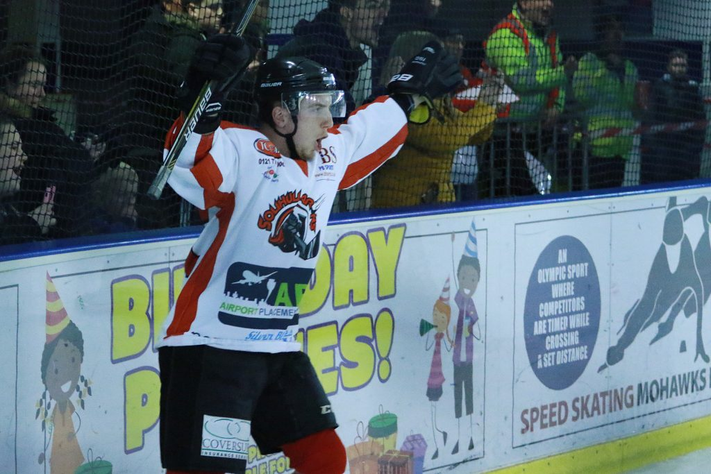Rich Slater celebrates his 200th Barons goal (Steve Crampton)