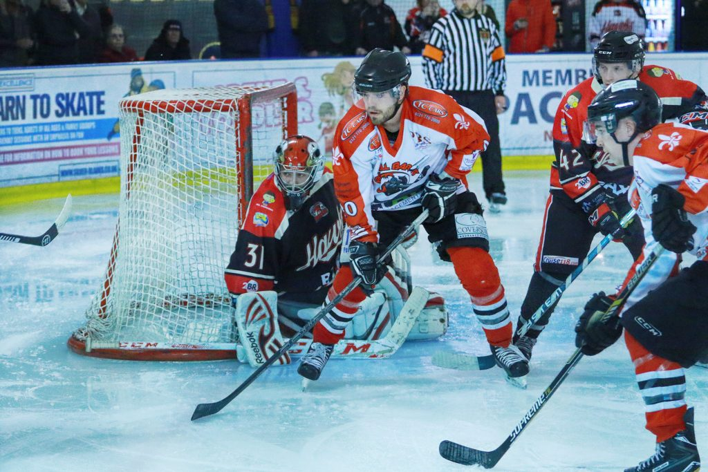 Barons crowd the Hawks goal (Steve Crampton)