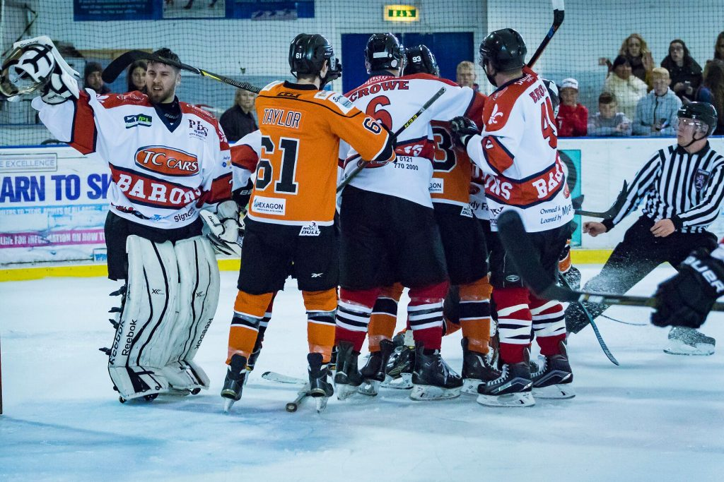 Tensions round the Barons net (Steve Crampton)