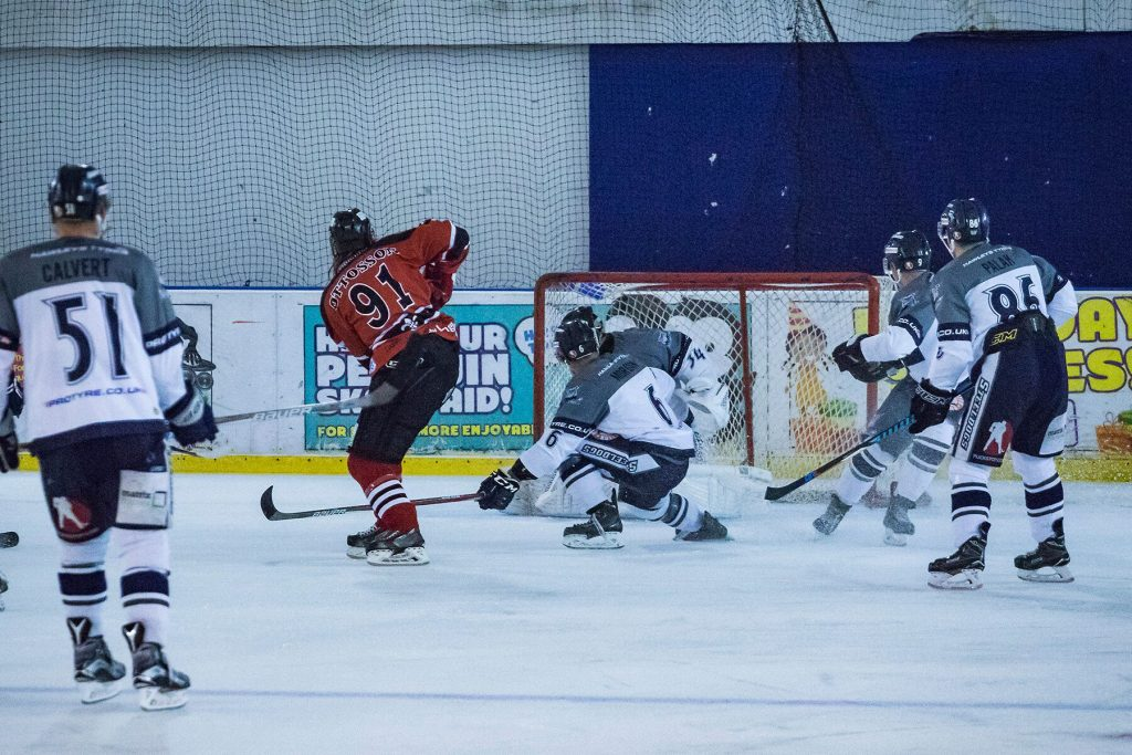 Niklas Ottosson skates through the Steeldogs defence for his goal (S. Crampton)