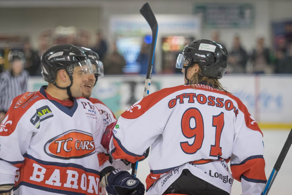 Ryan Selwood, Luke Brittle and Niklas Ottosson celebrate. (Harish Chavda, www.dingleimages.com)
