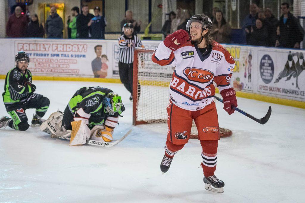 Niklas Ottosson celebrates one of his four goals (Harish Chavda/www.dingleimages.com)