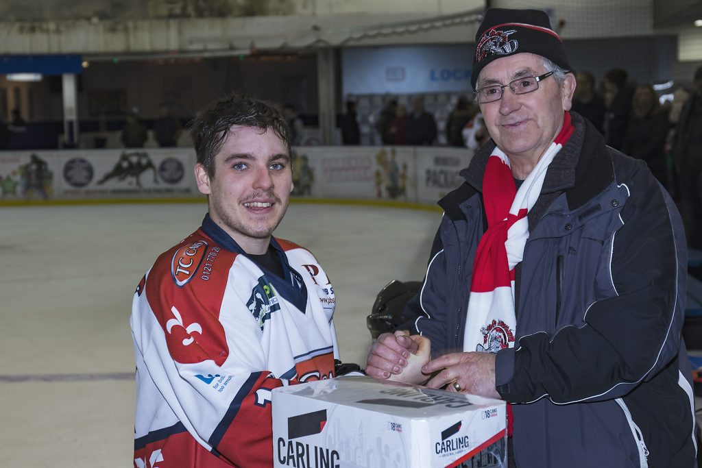 Barons Man of the Match Luke Brittle, with the award presented by original Baron, Graham Downing (Steve Crampton)
