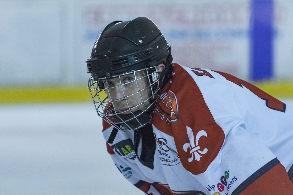 A focussed Ed Eaton waits for the puck to drop (Steve Crampton)