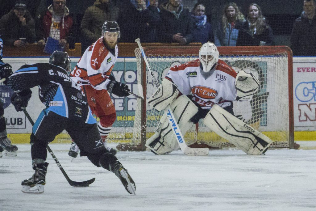 Dangy Brittle was in good form between the pipes for the Barons (S Crampton)